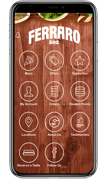 Ferraro 502 iPhone Android Delivery & Pickup Ordering App