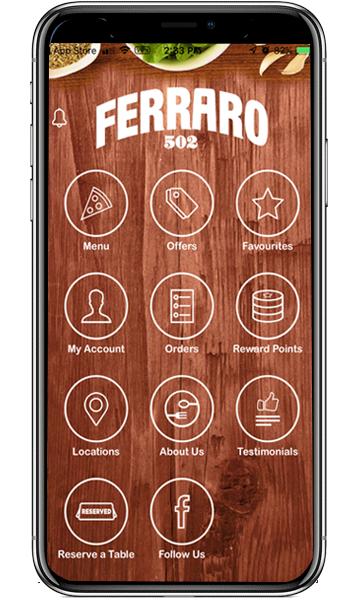 Ferraro502 Italian Restaurant - Android Delivery & Pickup Ordering App